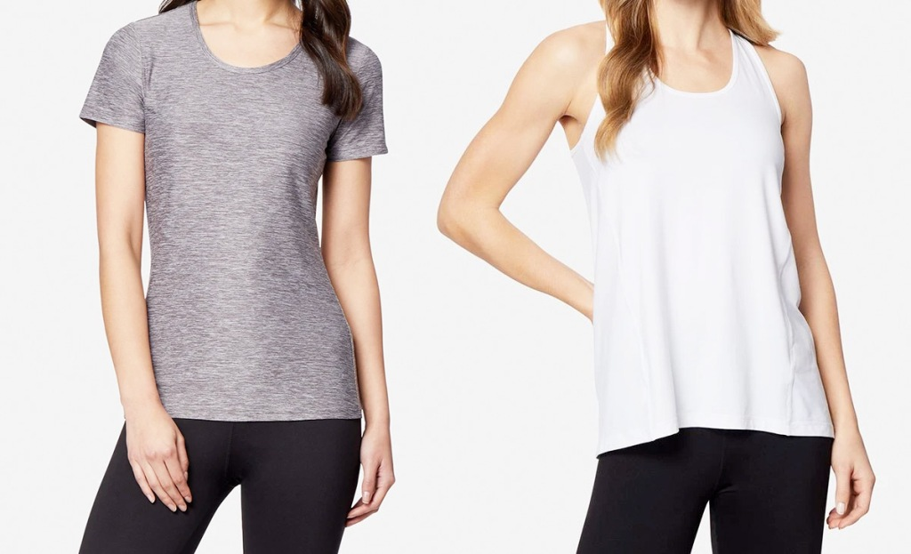 two women modeling grey tshirt and white tank top
