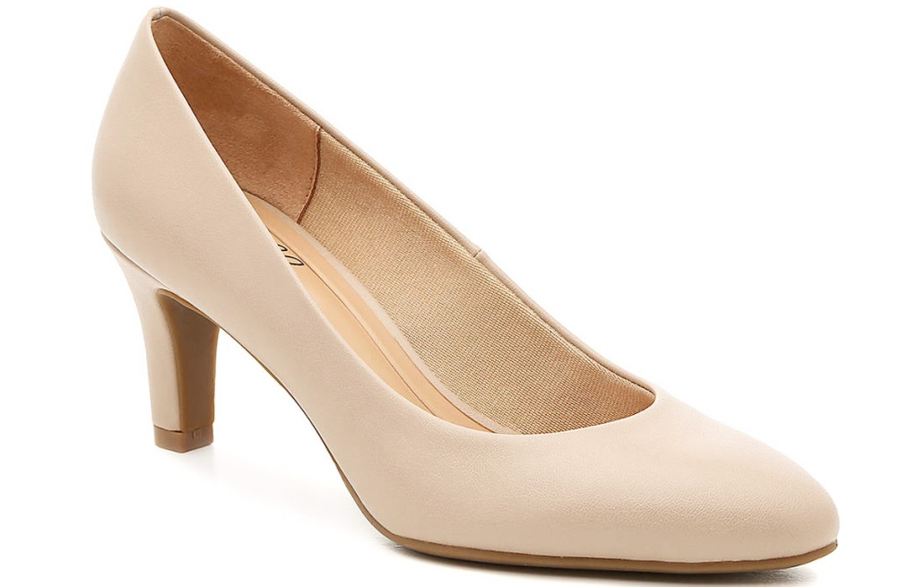 toupe colored womens pump with small block heel