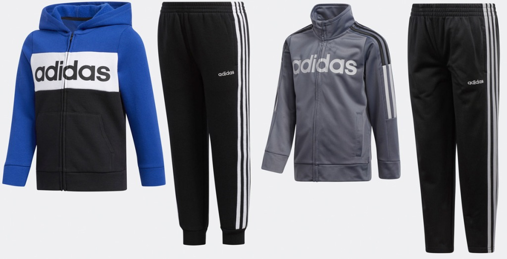 two sets of adidas kids jackets and black sweatpants