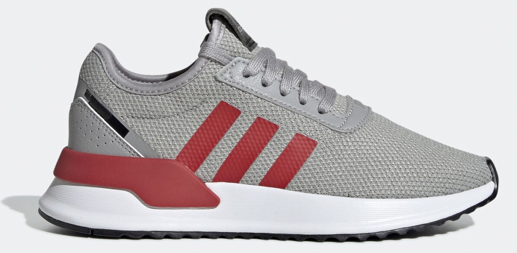 grey mesh running shoe with three red adidas stripes on side
