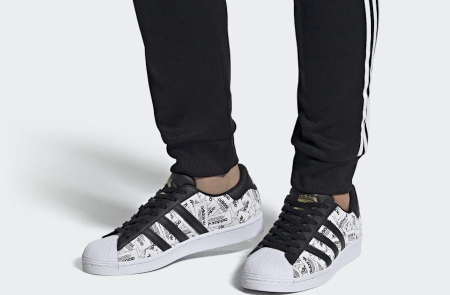 man wearing Adidas Superstar Shoes