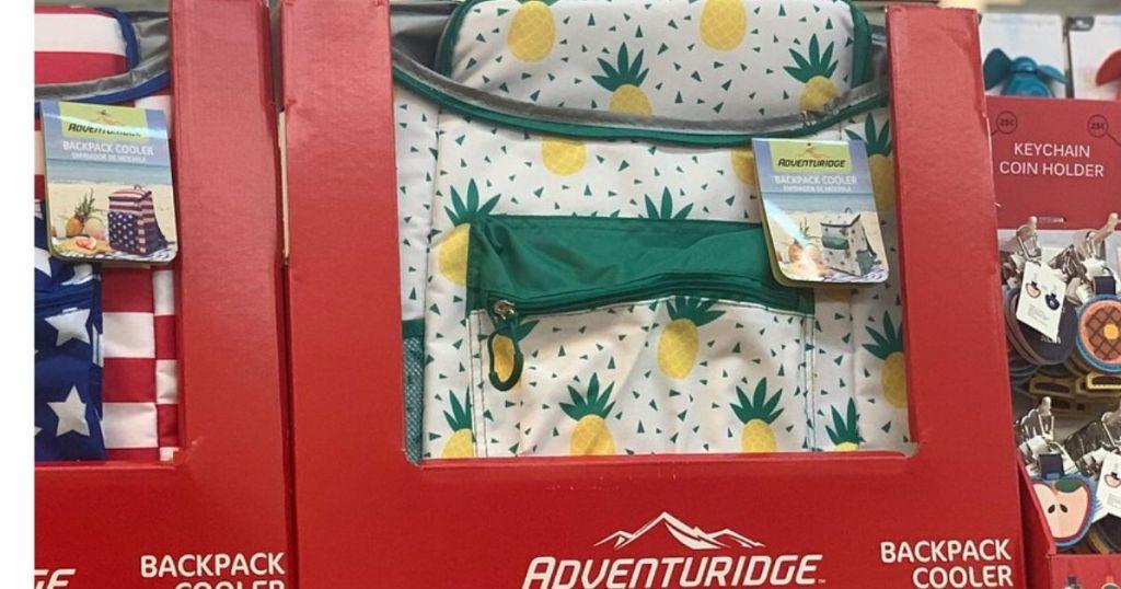 Cooler backpack on shelf at store