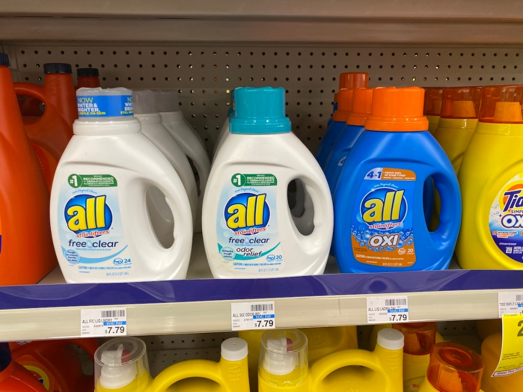all laundry detergent on shelf at CVS