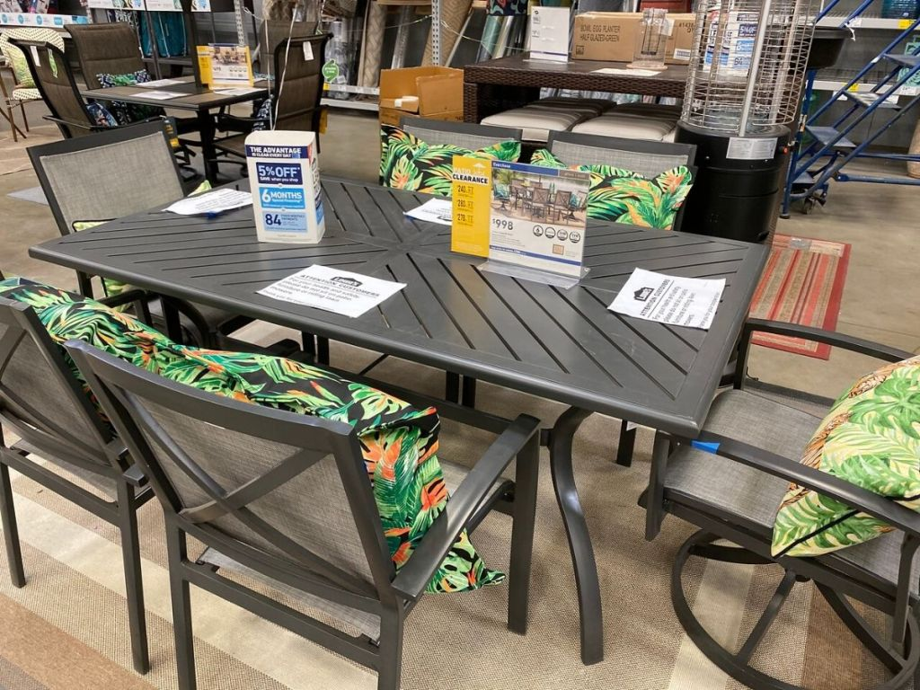 table set with chairs for patio
