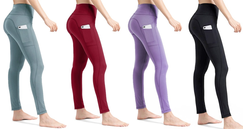 four women modeling full length leggings with pockets in light grey, red, light purple, and black colors