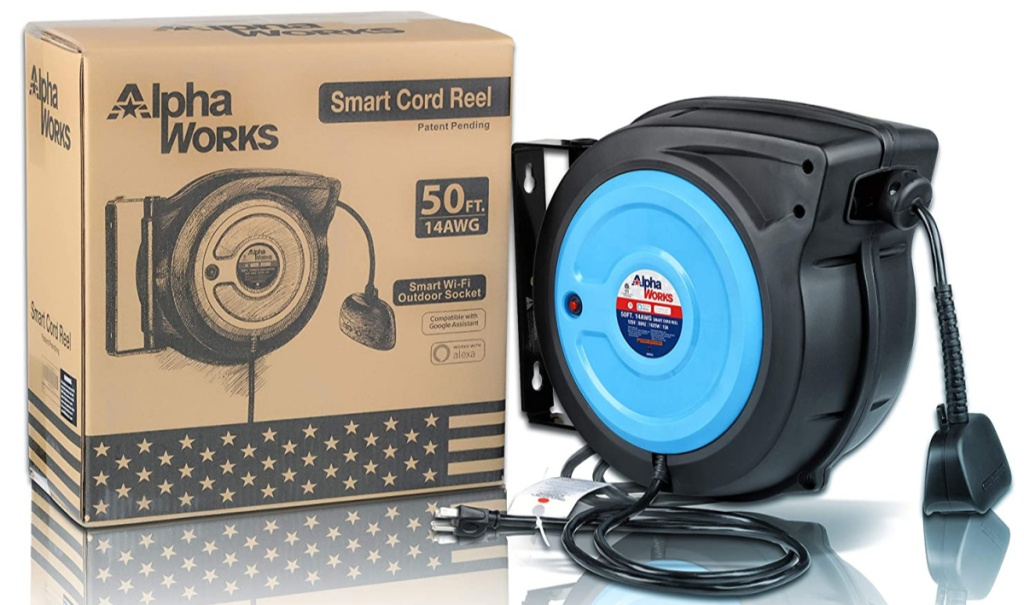 AlphaWorks 50-foot Extension Cord Reel w/ Alexa Smart Plug