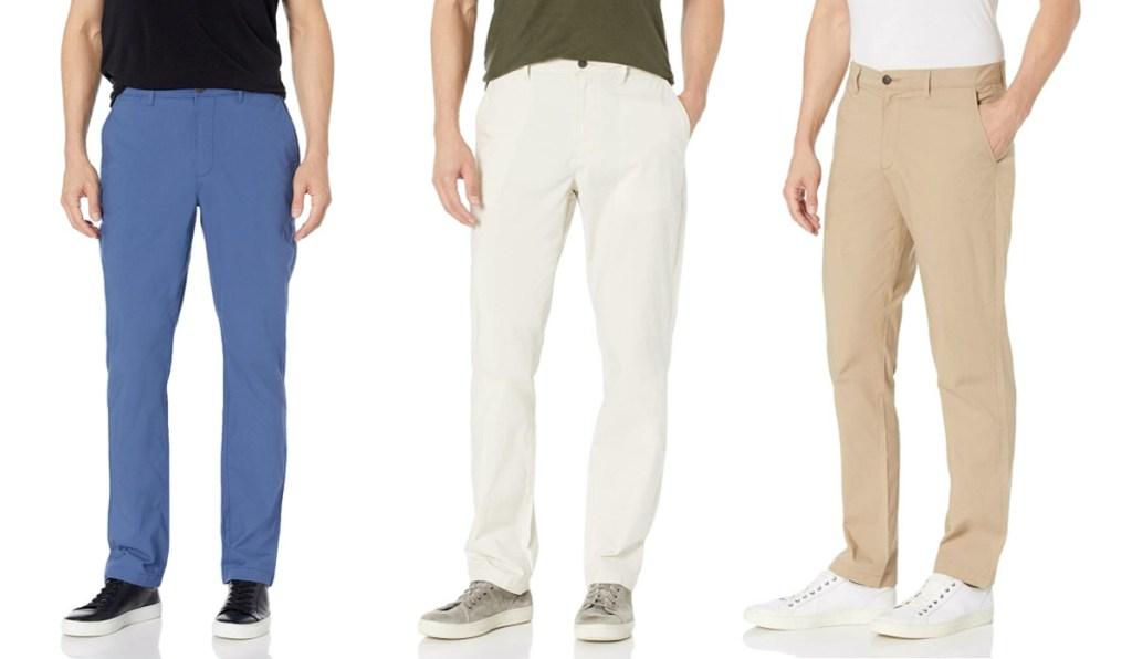 man in blue pants, man in light gray pants, man in khaki pants