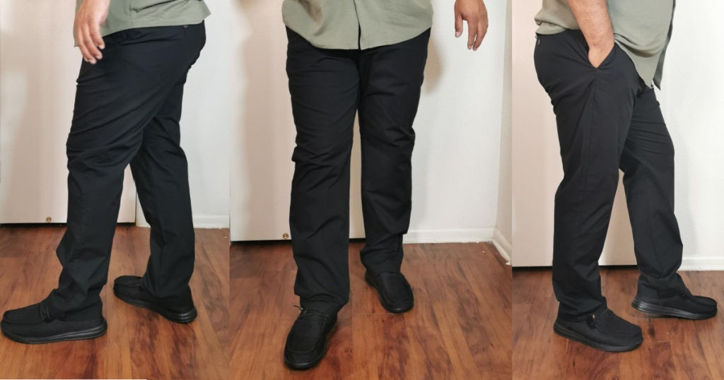 man wearing black pants and green shirt