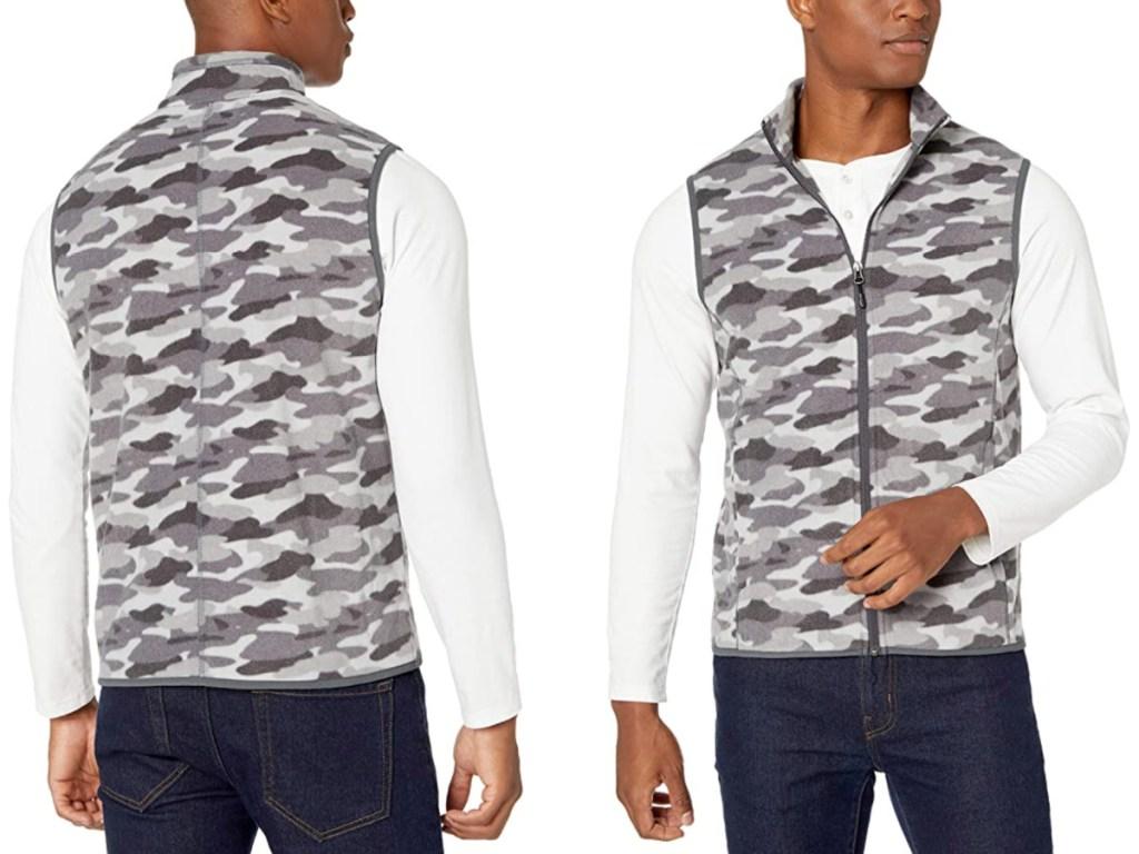 man wearing camo printed Amazon Essentials Men's Full-Zip Polar Fleece Vest