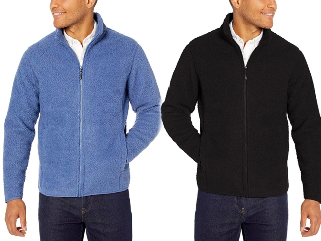 two men wearing blue and black colored Amazon Essentials Men's Sherpa Fleece Full-Zip Jacket