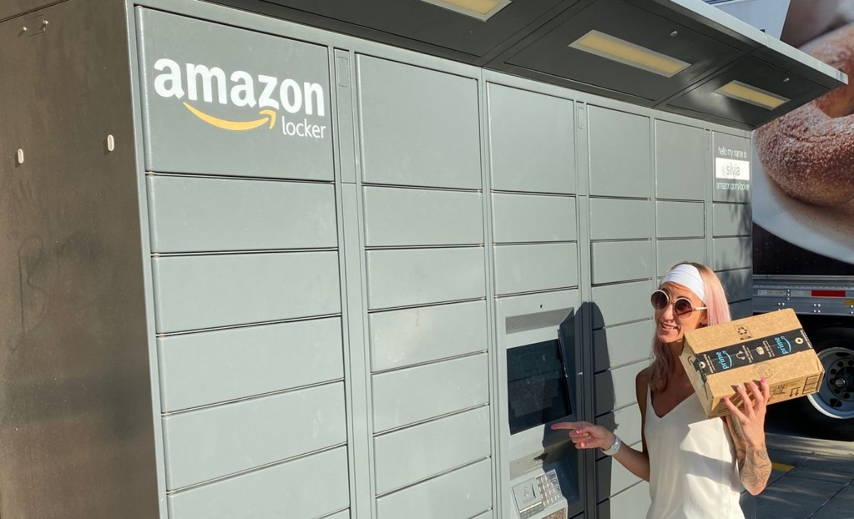A woman returning a package at an Amazon locker