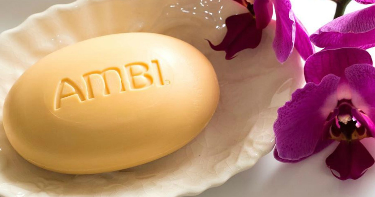 Ambi cleansing bar next to flowers