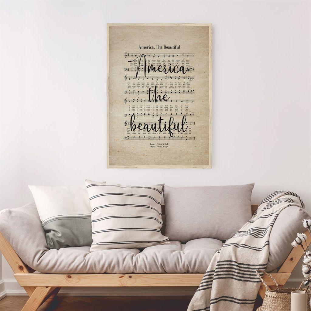 America the Beautiful Hymn Print above sofa