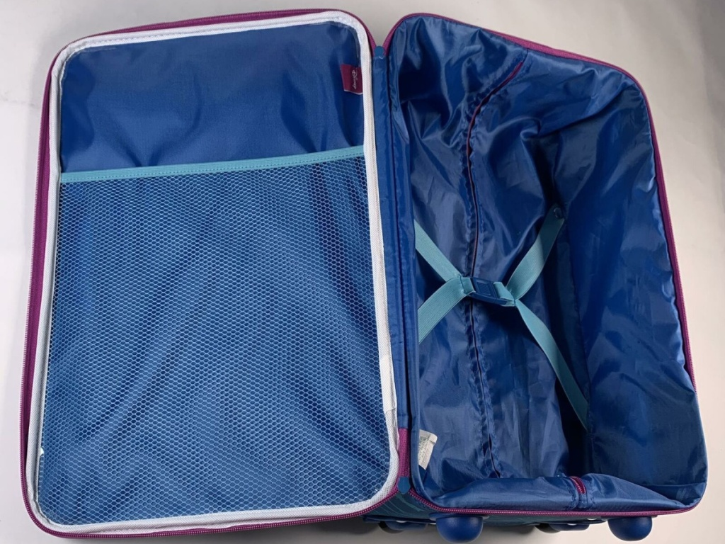 purple and blue open suitcase
