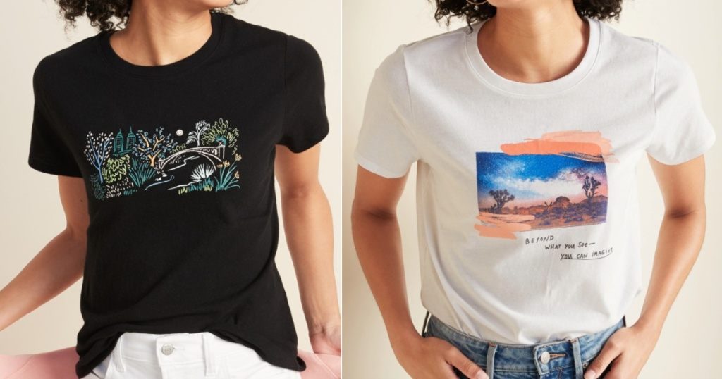 2 women wearing short sleeve graphic t-shirts