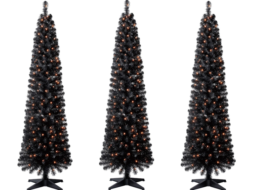 Ashland 6ft. Pre-Lit Shiny Black Pencil Tree with Clear Lights