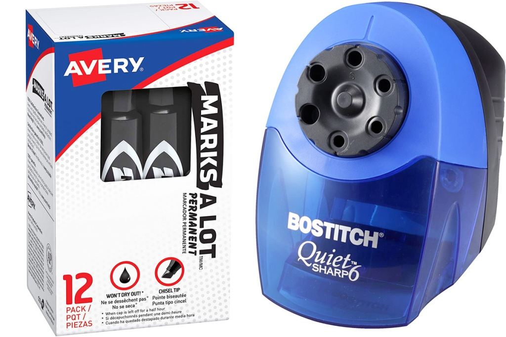 box of black marks-a-lot permanent markers and blue electric pencil sharpener