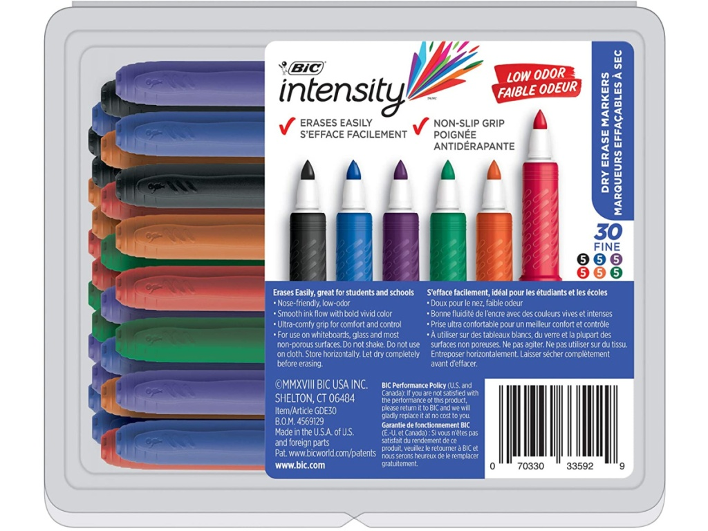 BIC Great Erase Grip Low Odor 30-Count Dry Erase Markers