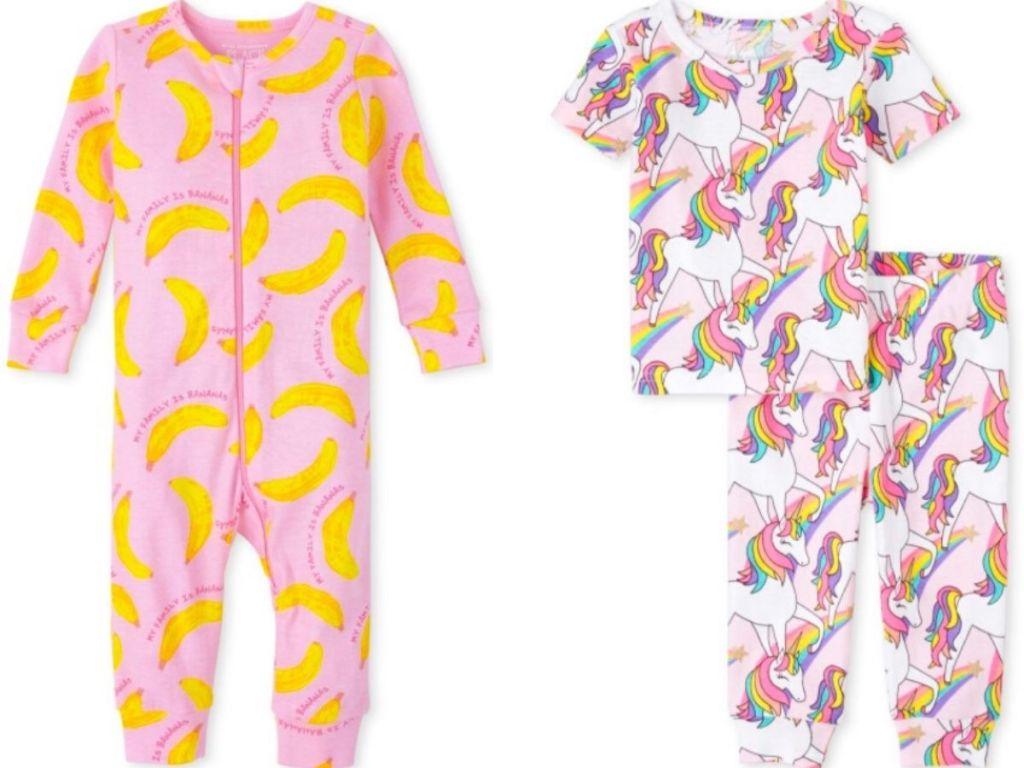 two pairs of baby girl pajamas