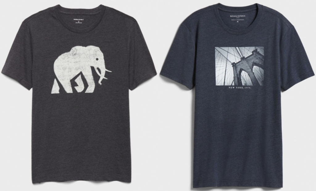 2 men's dark colored graphic tees sitting side by side