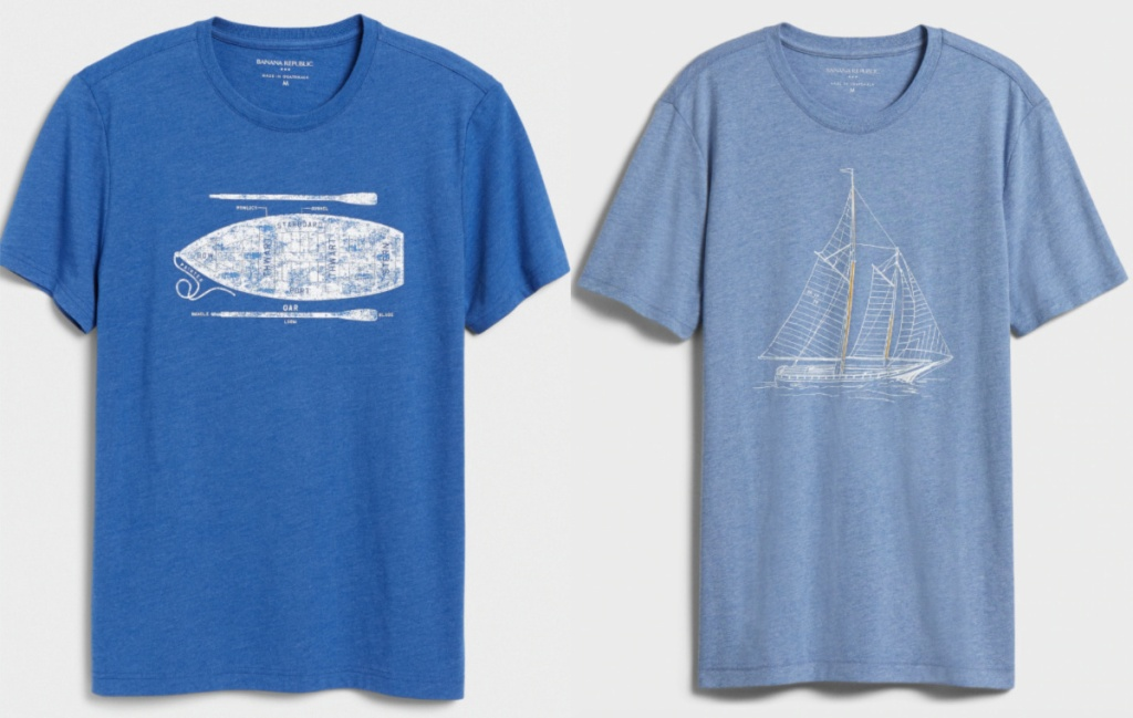 two blue colored men's graphic t-shirts