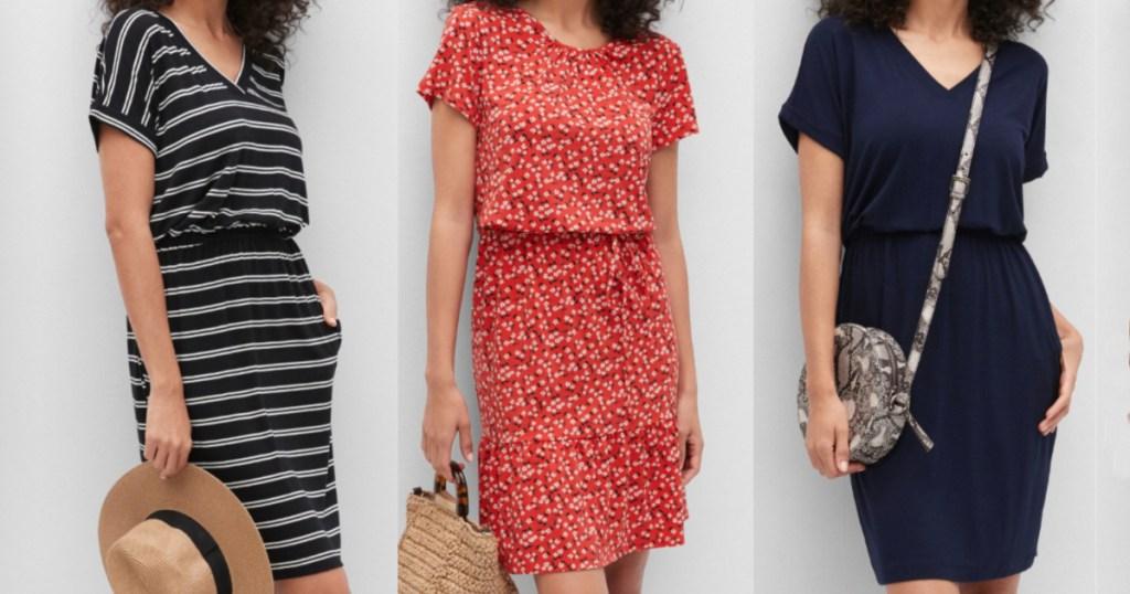 3 women wearing dresses standing side by side