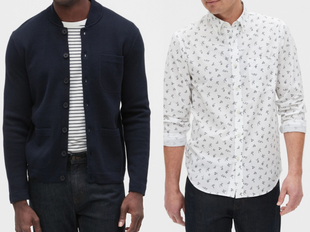 2 men wearing a navy jacket and white button down dress shirt