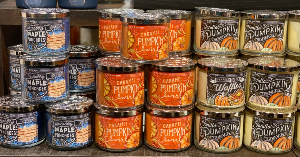 display of blueberry maple pancakes, caramel pumpkin swirl, vanilla pumpkin, and pumpkin pecan waffles on display