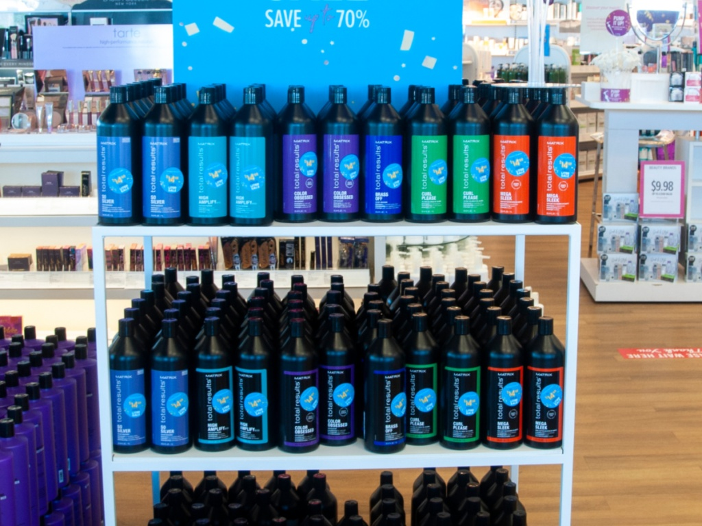 large display of matrix total results haircare products in-store