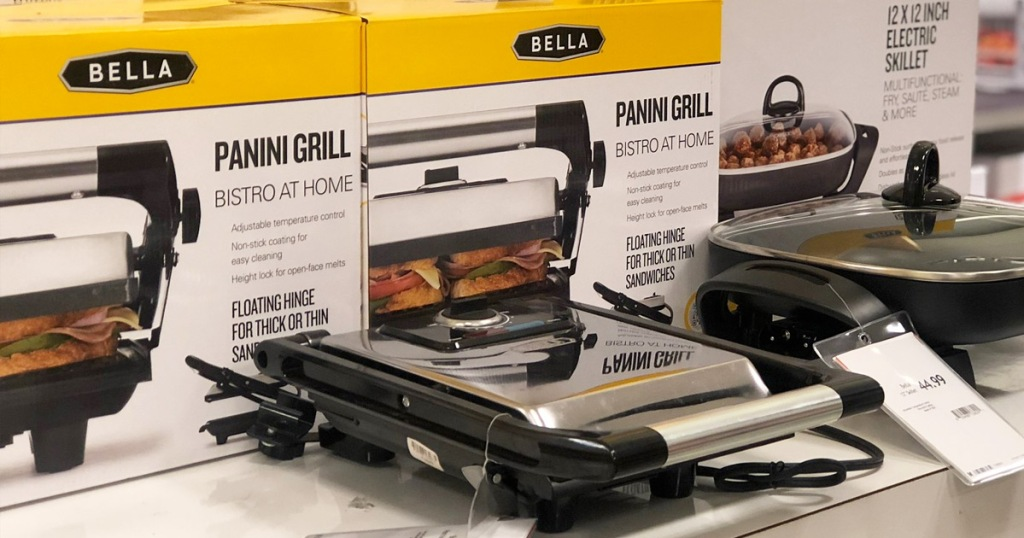 stainless steel panini press on display at store in front of yellow and white boxes