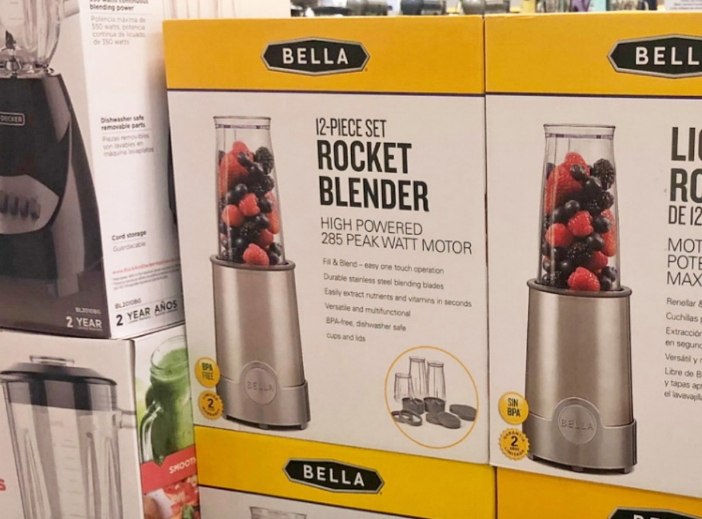 white and yellow boxes for a stainless steel rocket blender