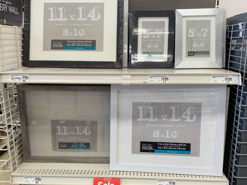 different colored frames on store shelf
