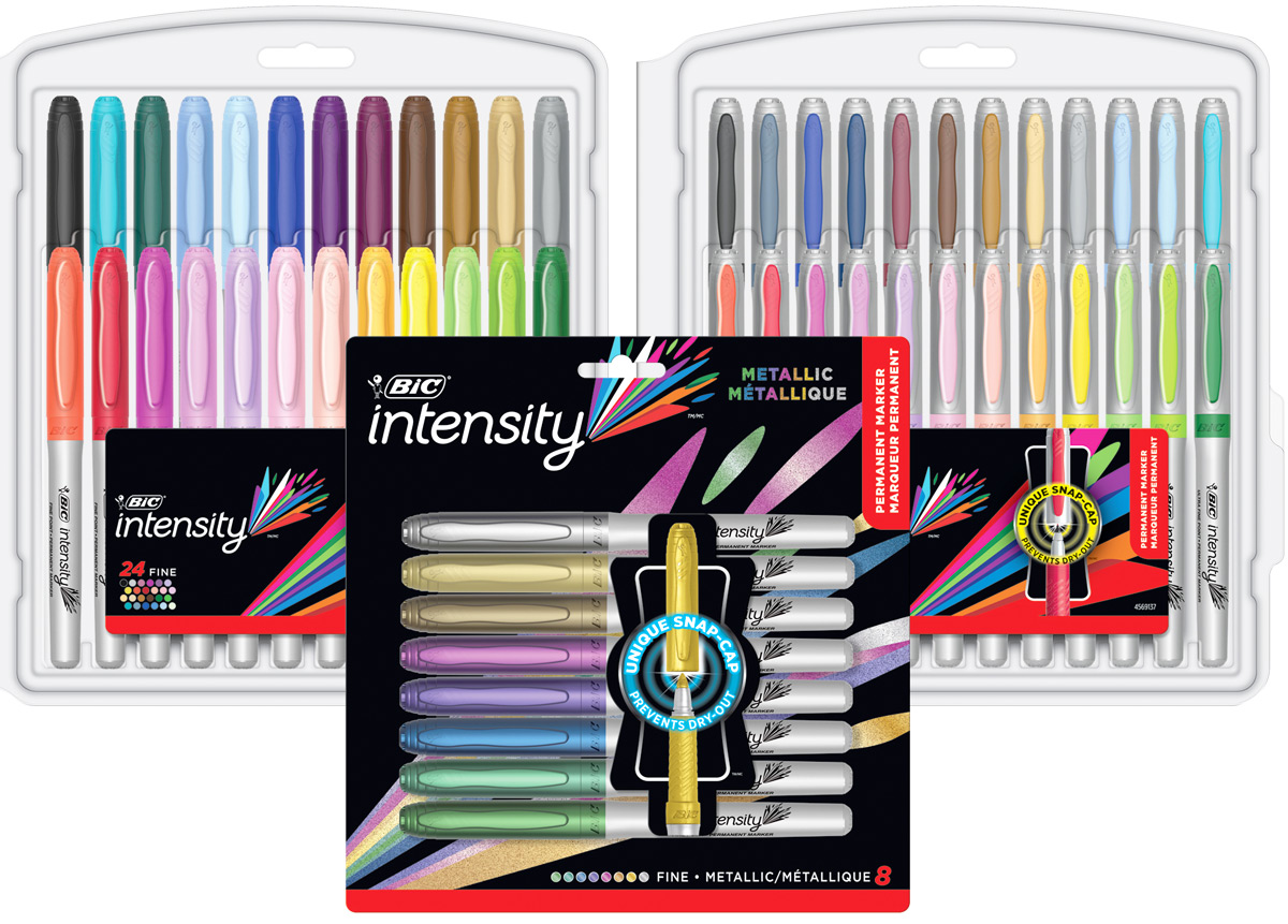 two clear packages of bic markers with package of metallic markers up front