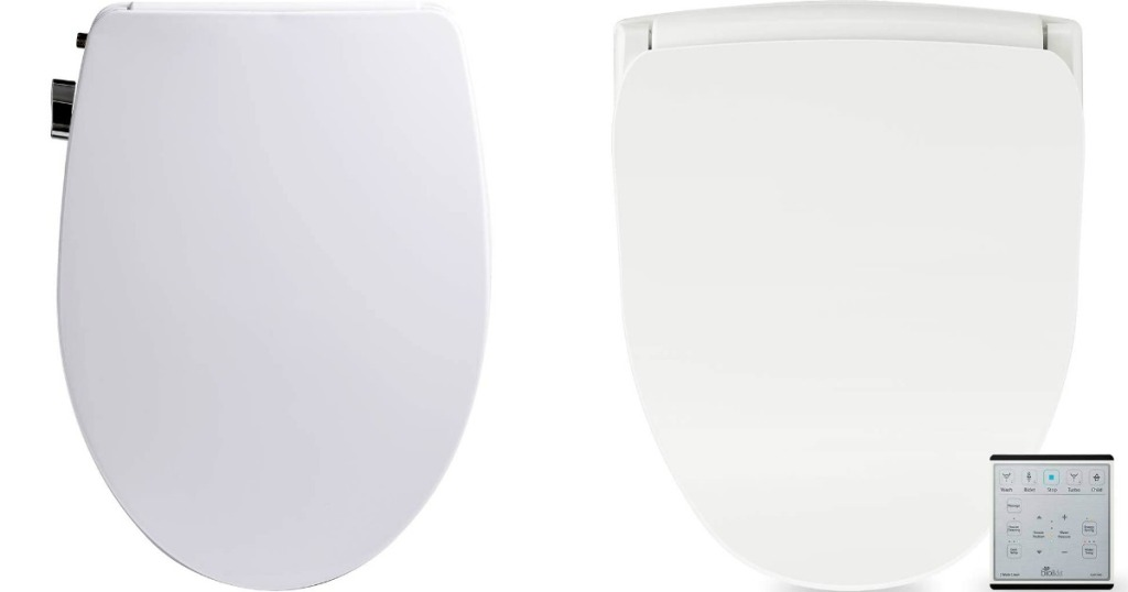 Top view of two bidet style toilet seats