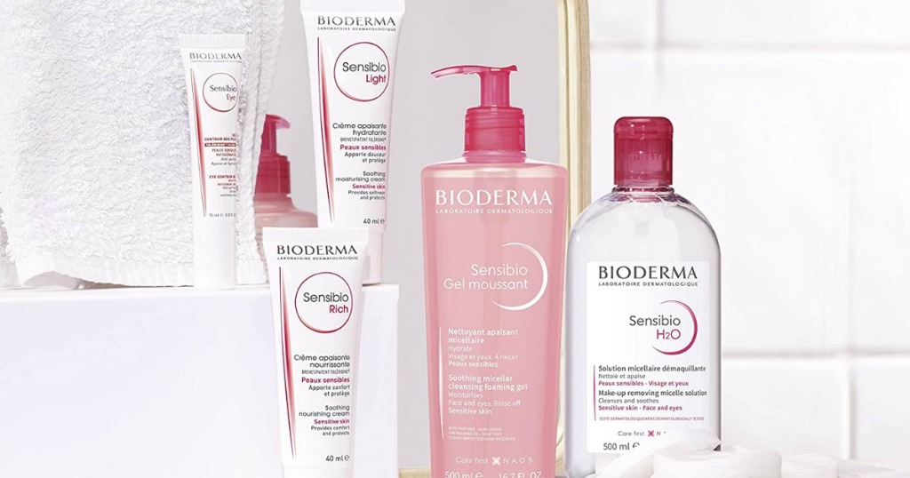 counter with Bioderma beauty products on it