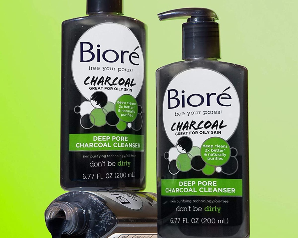 bottles of biore charcoal deep pore cleanser