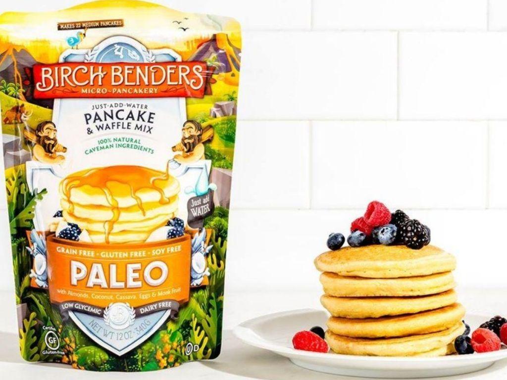 paleo pancake mix next to stack of pancakes