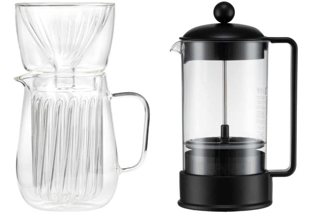 glass pour over coffee maker and black french press