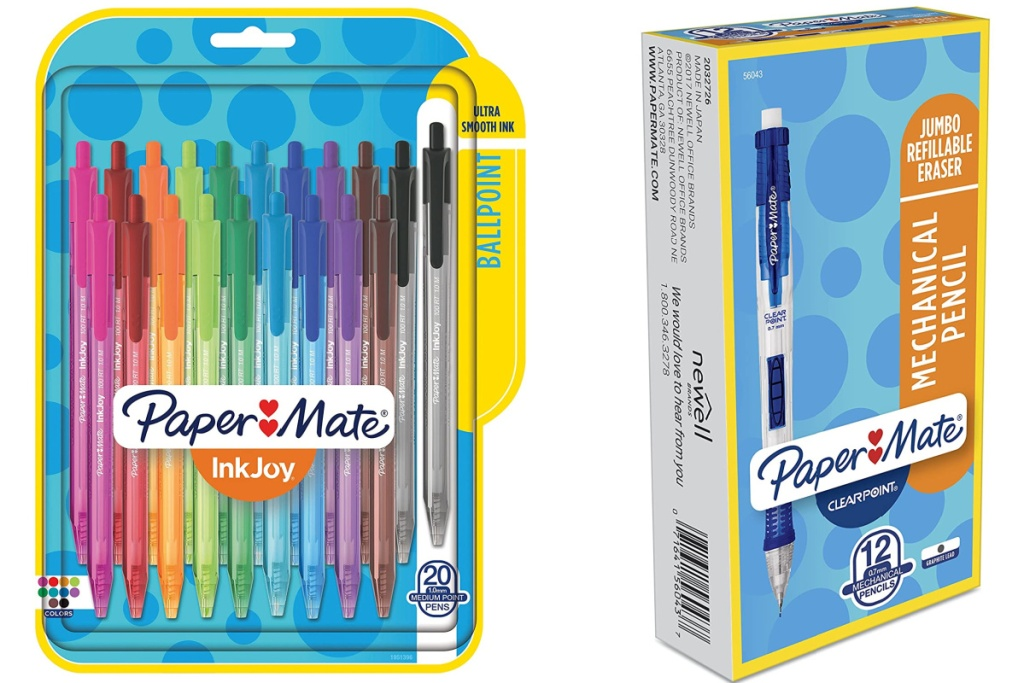 paper mate pens and pencils assorted colors and mechanical pencils