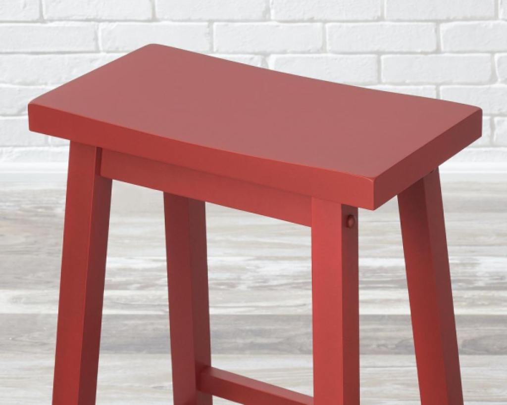 stylewell backless bar stool chili red wood barstool