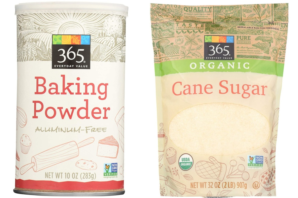 365 everyday value baking powder and can sugar