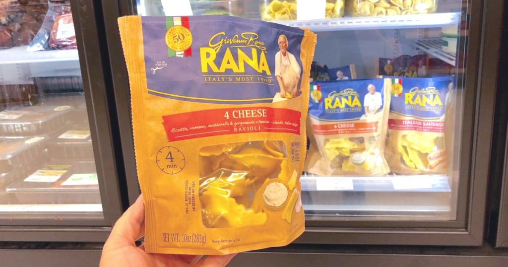 giovanni rana pasta in hand at store four cheese flavor