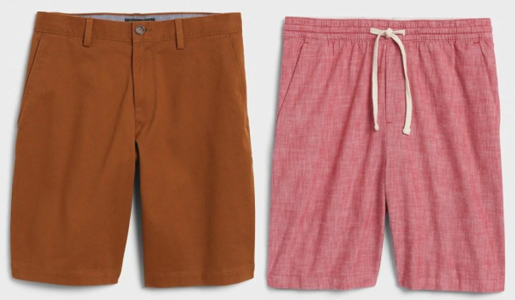 banana republic mens shorts camel and red