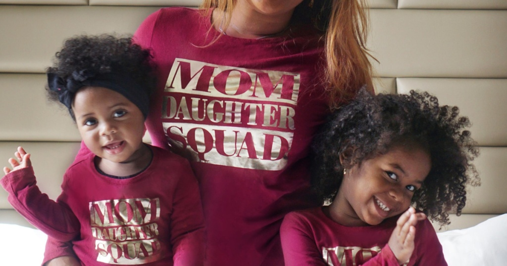 the childrens place matching tees on mom and two girls