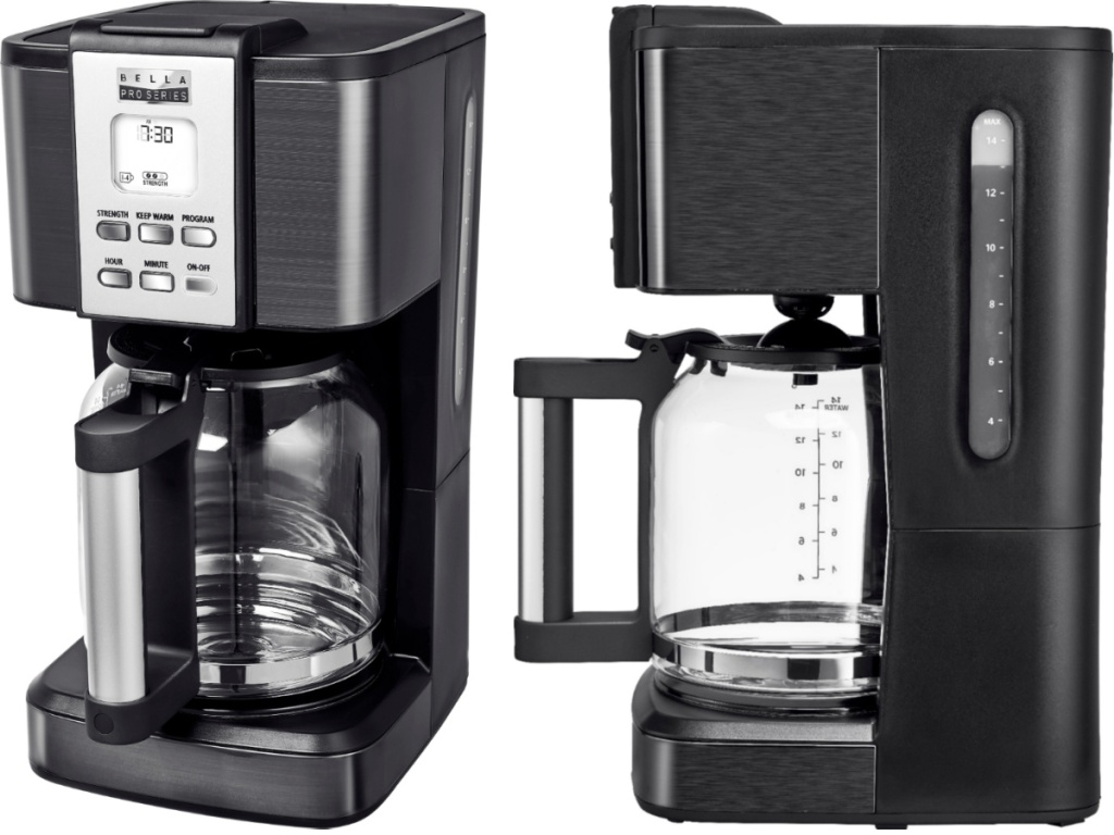 bella coffee maker front and side view