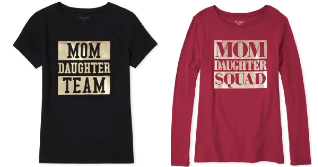 matching family tees for women black and maroon
