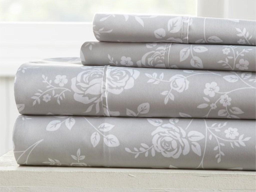 ienjoy gray rose sheet set pile