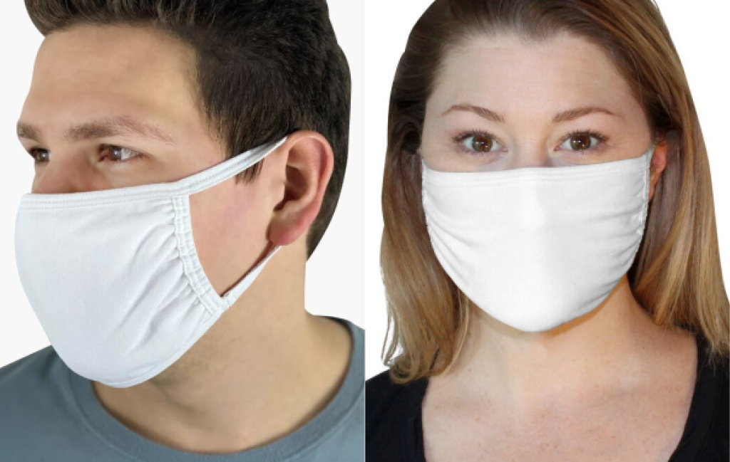 fruit of the loom face masks on guy and woman