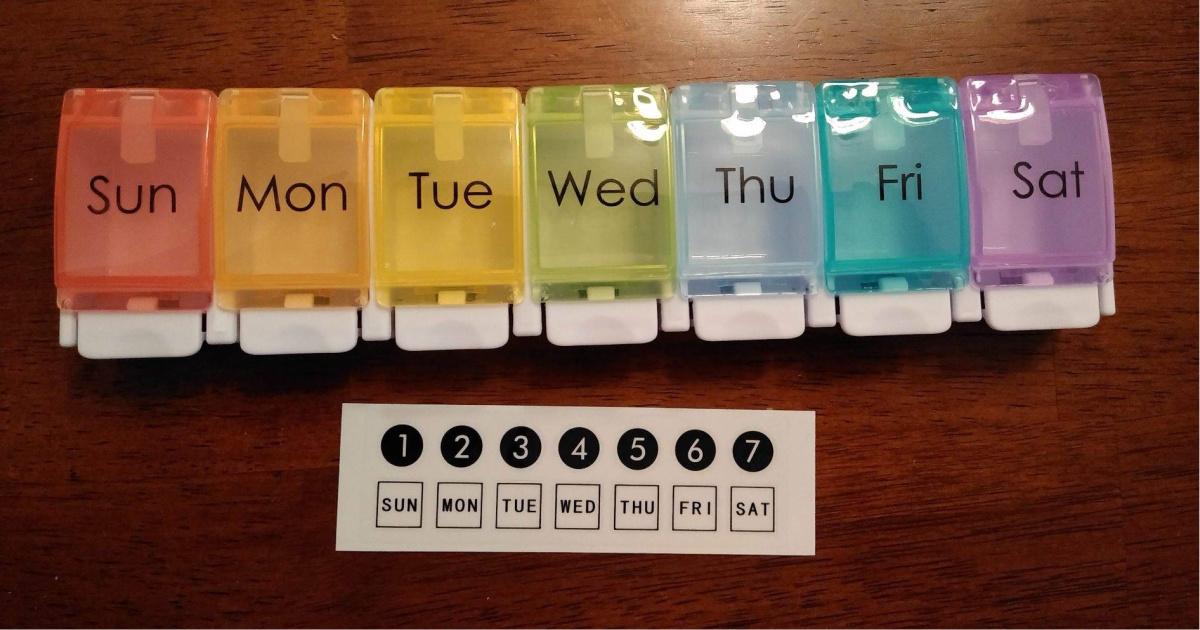 pill organizer rainbow colored closed