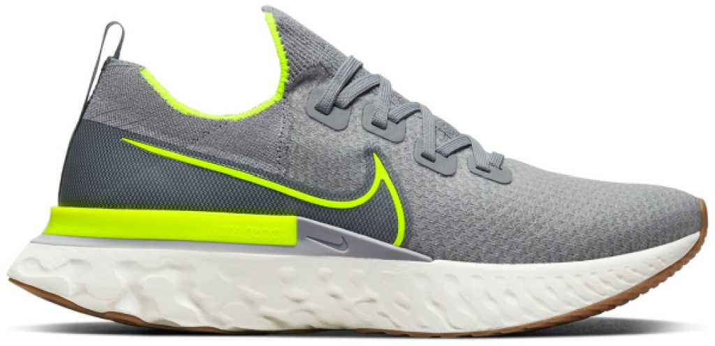 mens nike flyknit react shoes gray and green